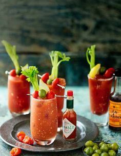 Our recipe for this classic cocktail combines vodka, tomato juice, Worcestershire sauce, port and sherry with a few dashes of Tabasco to turn up the heat. Garnish with a celery stick and some tomatoes and olives to serve Cocktail Menu, Cocktail Recipes, Cocktail Parties, Drink Recipes, Vodka Drinks, Fun Drinks, Celery Recipes, Bloody Mary Recipes, Mary Berry