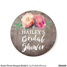 Rustic Flower Bouquet Bridal Shower Classic Round Sticker