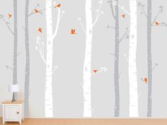 Birch Tree Decal with Flying Birds in 2 colors, Birch forest, Birch Trees Wall Vinyl for Nursery, Living Room, Kids or Childrens Room on Etsy, $92.00