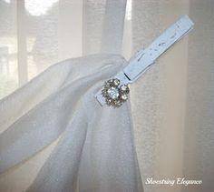 Clothepin Curtain tie backs