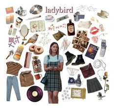 """ladybird"" by loenmoon ❤ liked on Polyvore featuring art, movie, moodboard, ladybird, aesthetic and movieaesthetic"