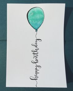 Happy birthday 5x7 calligraphy, hand lettering, metallic, watercolor card.