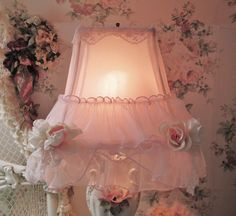 shabby chic lamp shade boudoir vantiy pink lamp by TheGirlyCottage