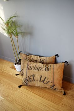 Etsy - Shop for handmade, vintage, custom, and unique gifts for everyone Handmade Pillows, Decorative Pillows, Diy Tapis, Coffee Sacks, Burlap Sacks, Antique Show, Sewing Pillows, Linen Bag, Little Houses
