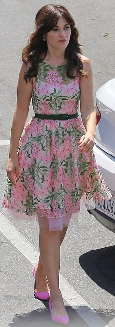 e772b3c150 Zooey Deschanel is pretty in a pink dress while walking on the set of her  hit show New Girl on Monday (August in Los Angeles. Last weekend