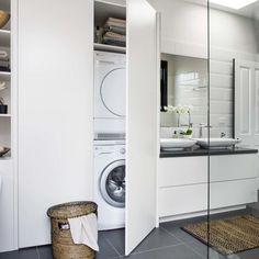 Laundry in a bathroom Laundry In Bathroom, Laundry Mud Room, Bathroom Interior Design, Bathroom Renos, Home, Hidden Laundry, Small Bathroom, European Laundry, Laundry