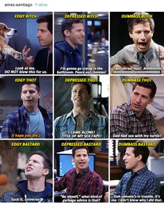 Edgy bastard or edgy bitch Series Movies, Movies And Tv Shows, Hunger Games, Brooklyn Nine Nine Funny, Detective, Andy Samberg, Fandoms, Parks N Rec, Best Tv Shows