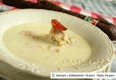 Káposztakrémleves kolbászos nokedlivel | NOSALTY – receptek képekkel Pudding, Soups, Desserts, Food, Tailgate Desserts, Deserts, Custard Pudding, Essen, Puddings
