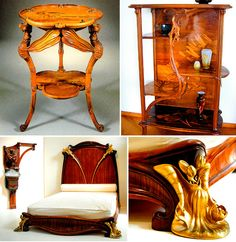 """Emile Galle's """"Dragonfly"""" stool, 1898 and other furniture by """"Ecole de Nancy"""":"""