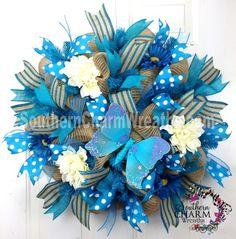 Deco Mesh Burlap SpRiNg WrEaTh Natural Turquoise Cream Door Wreath by www.southerncharmwreaths.com #burlap #wreath #mesh