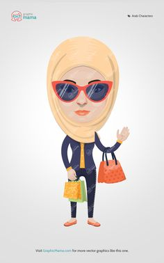 This young Arab female with sun glasses is a part of our Vector Creation Kit: Arabs (men and women) - Traditional and Modern Looks. #graphicmama