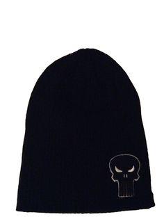 5ce59b96c9c Marvel Comics Punisher Embossed Symbol Black Knit Slouch Beanie Hat Skull  Cap  Beanie