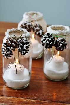snowy pinecone candle jars | DIY Winter Decoration #christmas