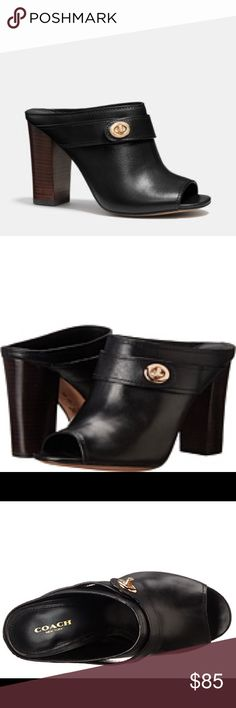 Coach Orchid Black clog meets bootie. Subtle sheen matte finish. Curvaceous design. The belting detail is finished with Coach torn lock for a touch of signature shine. Leather.  Worn less than 5 times. Pristine condition except for soles underneath shoes from walking. Great transitional shoe.  Box include but not exact coach box. Coach Shoes Mules & Clogs