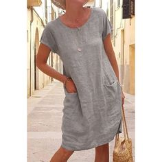 Linen Dresses, Summer loose solid color pocket cotton and linen dress Linen Dresses, Casual Dresses For Women, Cotton Dresses, Plus Size Dresses, Midi Dresses, Linen Summer Dresses, Dress Casual, Formal Dress, Maxi Dress With Sleeves