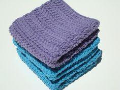 Three Cotton Washcloths, Purple and Bright Blue Washcloths, Wash Cloths, Crochet Washcloths, Crocheted Washcloths, Wash Cloths by HoookedSoap, $12.00