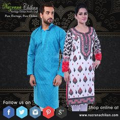 """...Essence of Lucknowi Culture... Intricately embroidered fine-handcrafted heritage needle-craft chikankari. On your click @www.NazranaChikan.com.  """"Pure Heritage, Pure Chikan""""  Use coupon code OFF300 to avail flat Rs.300 Off."""