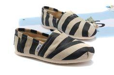 Toms Black Stripe Linen Women Classics