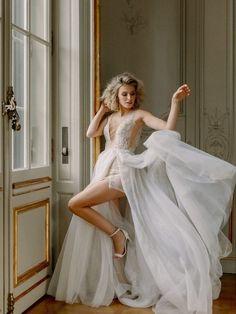 Gorgeous deep v wedding dress! Bridal Sari, Blush Bridal, Berta Bridal, Stunning Wedding Dresses, Best Wedding Dresses, Castle Wedding Inspiration, Blush Gown, Bridal Separates, Bridal Musings