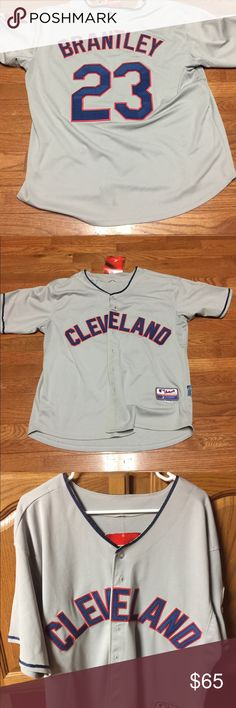Men's Cleveland Indians Michael Brantley Jersey BRAND NEW with tags!!!  Majestic Cool Base Replica MLB Jersey - size 50 XXL  Everything but the glove, bat and helmet. Get on the field in this men's Majestic Cleveland Indians Michael Brantley jersey. Team logo delivers official style. PRODUCT FEATURES * Tag-free neck * Heat-transfer lockertag * Athletic modern fit * Button front * Short sleeves  FABRIC & CARE * Polyester Cool Base * Machine wash * Imported Majestic Shirts Tees - Short Sleeve