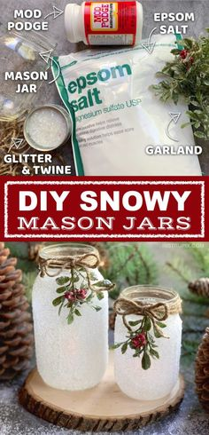 30 Christmas Crafts DIY Easy Fun Projects These DIY Christmas Tea Light Holders are incredibly easy to make using unexpected items: epsom salt and glitter. They are a beautiful holiday display for flameless tea lights, or could even be used as a vase Navidad Simple, Navidad Diy, Mason Jar Christmas Crafts, Mason Jar Crafts, Felt Christmas, Diy Gift Ideas For Christmas, Christmas Crafts To Make And Sell, Christmas Crafts For Adults, Christmas 2019