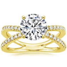 18K Yellow Gold Bisou Diamond Engagement Ring from Brilliant Earth