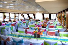 Main dining room set with customized linens on StarShip II