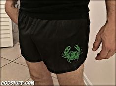 Nuke Green Vintage EOD Crab Logo on Black Silkies – EOD Stuff by BombBullie  #EOD #EODSilkies #EODCrab #explosiveordnancedisposal