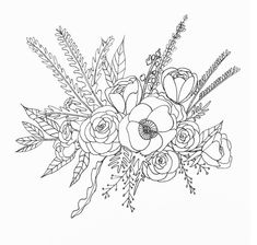 Flower Drawing Line Drawing Flower Illustration Bunch Of Flowers Drawing, Floral Illustrations, Line Art Drawings, Art Drawings, Drawings, Art, Flower Line Drawings, Botanical Line Drawing, Flower Illustration