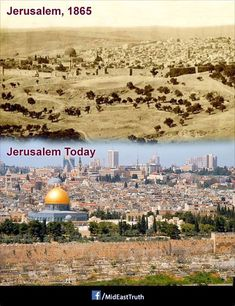 Jerusalem from the east looking northwest. During the Muslim Ottoman Empire the city was not a major city for Arab countries. Israel History, Jewish History, Jerusalem Israel, Cultura Judaica, Heiliges Land, Then And Now Pictures, Naher Osten, Israel Travel, Holy Land