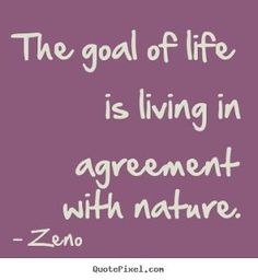 The goal of life is   The goal of life is living in agreement with nature.  https://www.pinterest.com/pin/445082375654068068/   Also check out: http://kombuchaguru.com