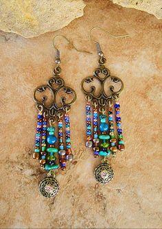 Boho Chandelier Earrings Deep Blue Green Ocean by BohoStyleMe