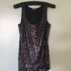 Express Back Sequin Tank Excellent condition. Sequin on front, cotton on back. XSmall but fits like a small. Express Tops Tank Tops