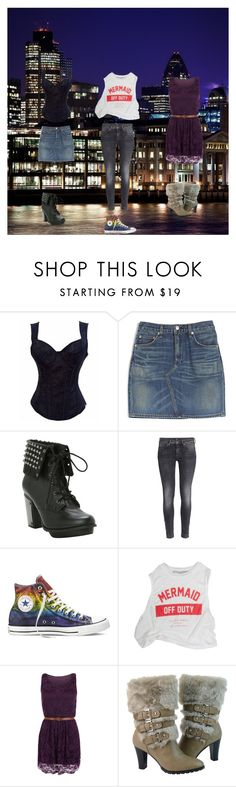 """Night out with the girls!!!!"" by frizzynorse ❤ liked on Polyvore featuring rag & bone, H&M, Converse, WearAll and DimeCity"