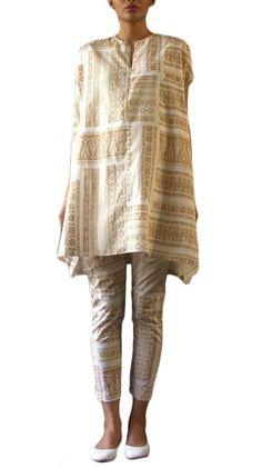 Neutral Tribal Print Salwar Suit   Strandofsilk.com - Indian Designers