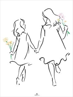 creative drawing Sisters - x Sisters depicts the special bond between female siblings All art personally signed by the artist by exclusive arrangement with Ty Wilson Pencil Drawing Tutorials, Pencil Art Drawings, Doodle Drawings, Doodle Art, Easy Drawings, Drawing Sketches, Sketch Art, Realistic Drawings, Drawing Tips
