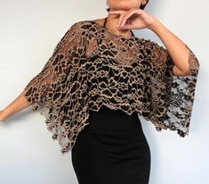 Beige Black Lace Shrug Elastic Bolero Capelet, Mother of Bride Fashion Shawl, Evening Dress Cover Up Special Occasion Wedding Lace Top Tunic - lace things Lace Shrug, Silk Shawl, Lace Tunic, Bolero Top, Wedding Dress Capelet, Bridal Bolero, Bridal Lace, Evening Shawls, Lace Evening Dresses