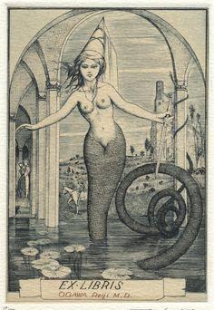 ∴ Ðrÿad ∴ - Ex Libris Etching by Alphonse Inoue Ex Libris, Siren Mermaid, Mermaid Fairy, Mermaid Book, Mythical Creatures, Sea Creatures, Water Nymphs, Vintage Mermaid, Mermaids And Mermen