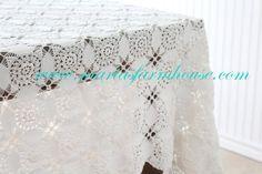 Vintage Crochet Tablecloth Rectangular Wedding by MariasFarmhouse
