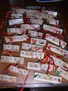 christmas decoration presents! cute! I have also seen the tiles on packages...(names on ribbon) then they can hang them on the tree after opening gifts.