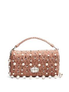 3eee2cbc62 MIU MIU Faux-Pearl Embellished Velvet Shoulder Bag.  miumiu  bags  canvas