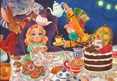 Sakura-joker, Alice in Wonderland, Alice (Alice in Wonderland), Cheshire Cat, Mad Hatter, Stars (Sky)