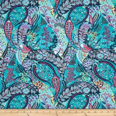 Amy Butler Glow Jolie Azure from @fabricdotcom  Designed by Amy Butler for Rowan Fabrics, this cotton print is perfect for quilting, apparel and home decor accents.  Colors include yellow, coral, hot pink, magenta, teal, orchid and aqua.