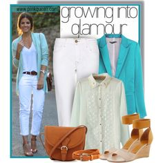Designer Clothes, Shoes & Bags for Women Turquoise Blazer, White Jeans, Summer Outfits, Suit Jacket, Street Style, Shoe Bag, My Style, Casual, Polyvore