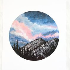 Mountain Print Sunset Print Night Sky Print Mountain by BirchBliss