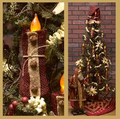 going to try and make these- red burlap ribbon, rusty bells and a battery candle. Original link found here:   http://www.countrystoreofgeneva.com/p-11872-santa-candle-pouch-with-taper-2251.aspx