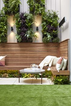 The Block 2019 Oslo: Courtyard reveals It wasn't just Jesse and Mel's eight metre high tiled feature wall that scored them a win for Courtyard Week. In terms of form and function, the couple absolutely knocked it out of the park. Courtyard Gardens Design, Outdoor Rooms, Small Backyard, Patio Design, Garden Seating, Small Garden Design, Outdoor Design