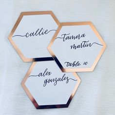 Hand Lettered Hexagon Place Cards, Wedding Place Cards, Calligraphy Name Cards, Escort Cards, Name Cards, Rose Gold Hexagon Place Cards by HellaCrafty415 on Etsy
