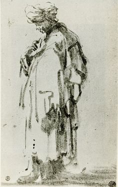 Rembrandt 1628-29c Oriental pen and brush in olive brown bistre 17.3 x 10.8 cm École des Beaux-Arts, Paris