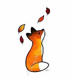 The Fox and The Leaves – Art Print – Le renard et les feuilles – impression d'Art 5 x 7 – # Love Drawings, Animal Drawings, Easy Drawings, Pencil Drawings, Simple Cute Drawings, Amazing Drawings, Fox Drawing, Drawing Eyes, Manga Drawing